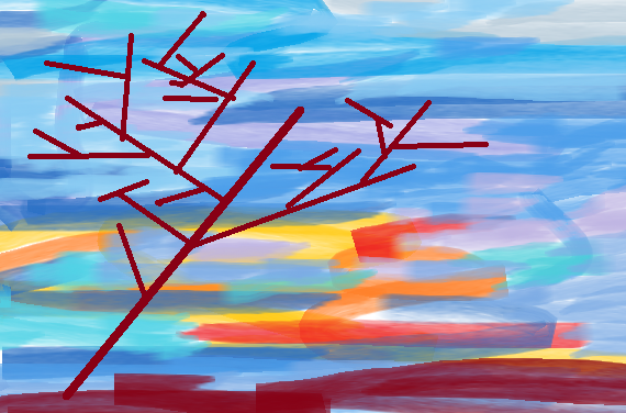 Sunset, august, wind Abstract art アブストラクトアート
