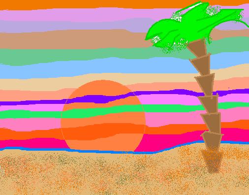 Tropical sunset Abstract art アブストラクトアート